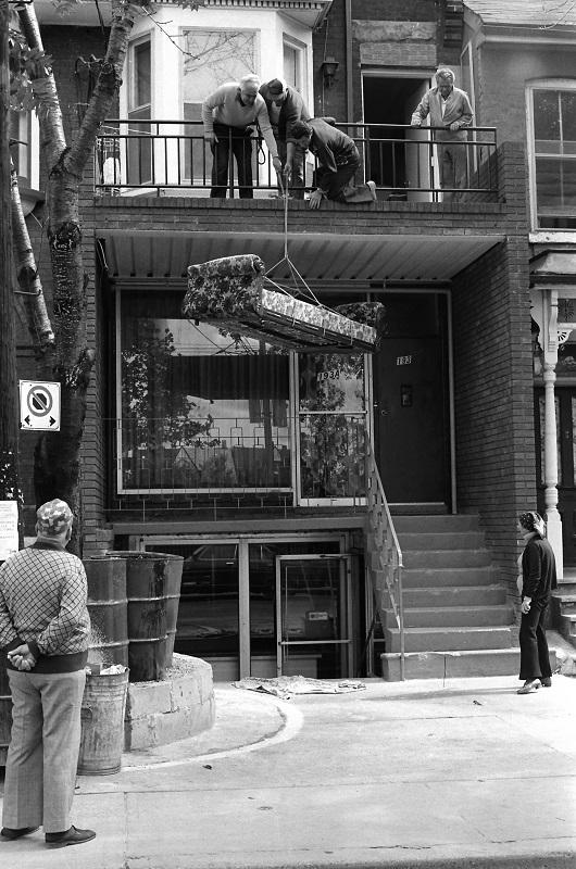 Hoisting sofa, Toronto, 1981,