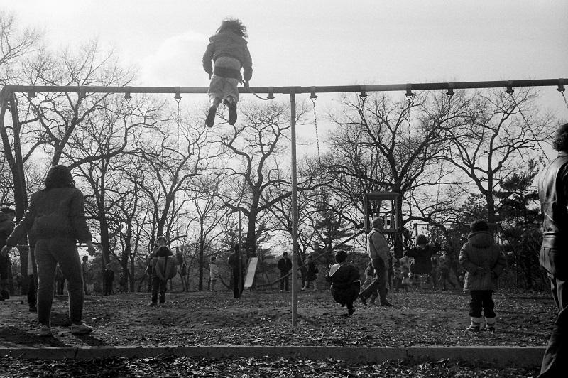 Toronto, playground, children, swings, 1986