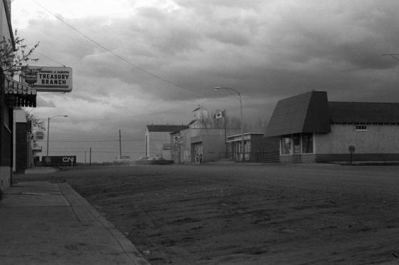 Prairie town, Ryley, Alberta, 1979,