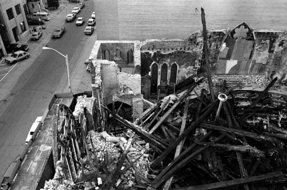 fire, burned church, Toronto,