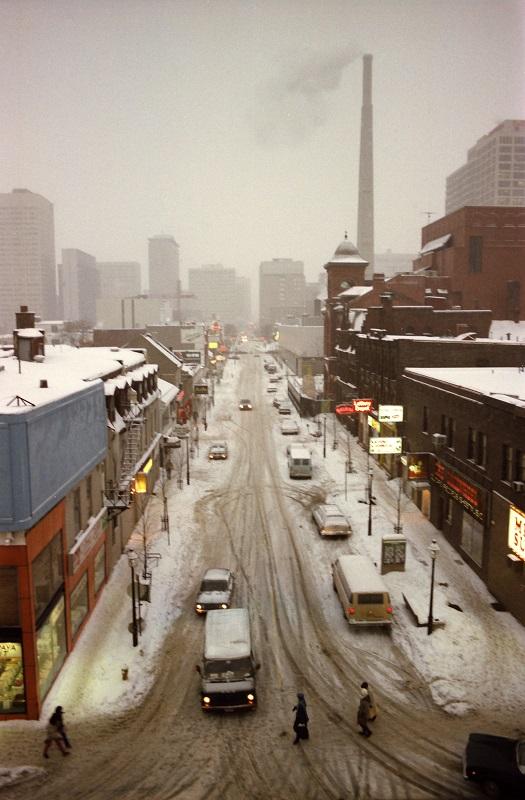 Elm Street, Toronto, winter, 1982,