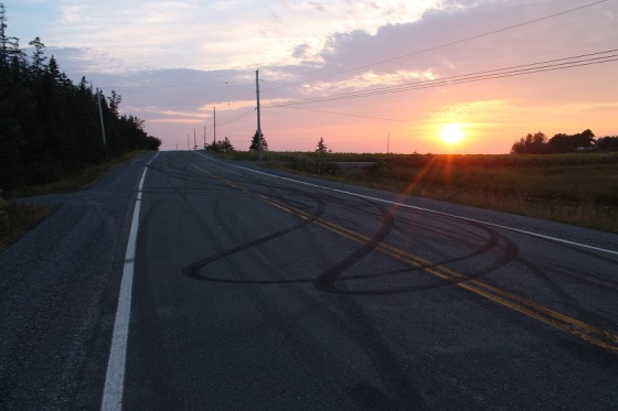 skid marks, Hants County, Nova Scotia, sunset