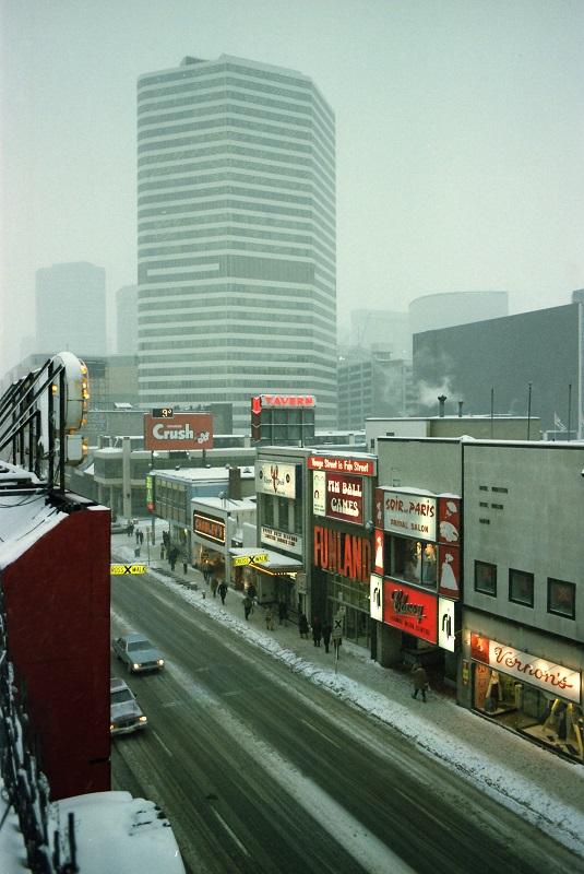 Toronto, Yonge Street, winter, 1982,