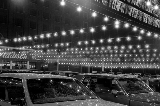 Addison on Bay, car lot, Bay Street, Toronto, 1983,