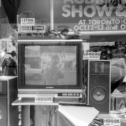 television, Sam the Record Man, Yonge Street, Toronto, 1984,