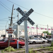 used car lot, Toronto, 1983