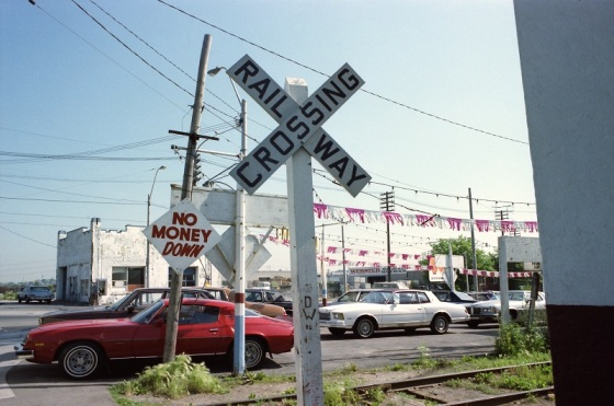 used car lot, Toronto, 1983