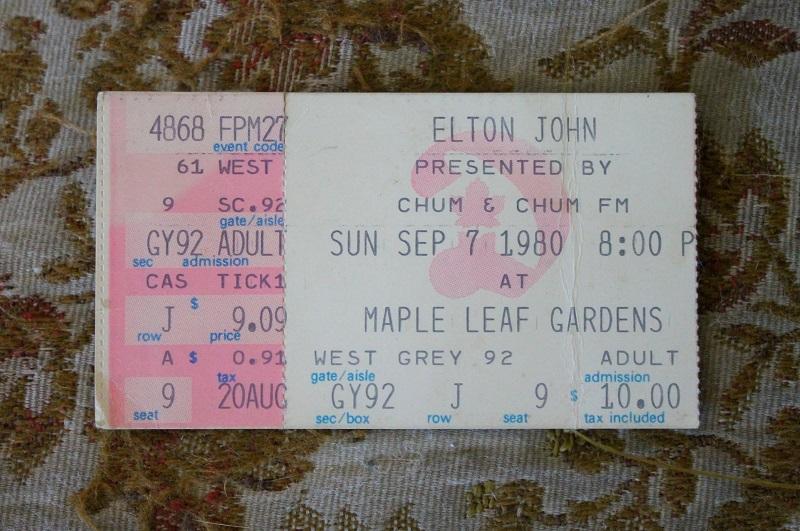Elton John ticket stub, Toronto,1980