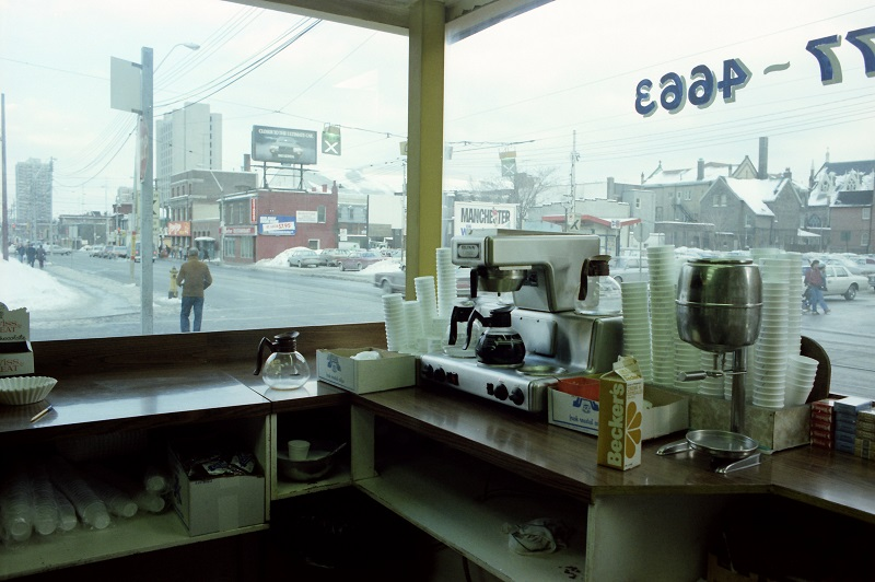 View from Raffles Burgers, Dundas Street East, Toronto,1982