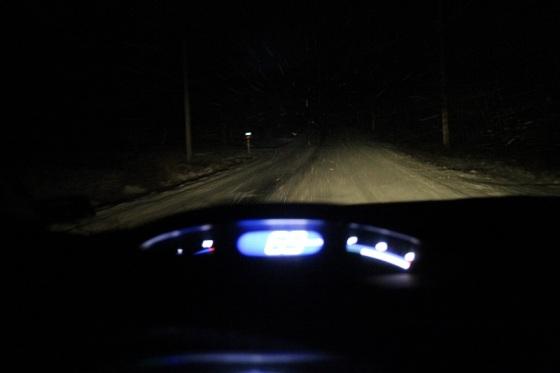 snow, night, car dash,