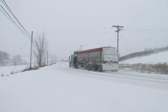 snow, semi truck, road,