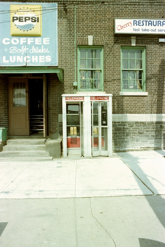 phone booths, Cherry Street, Toronto, 1982,