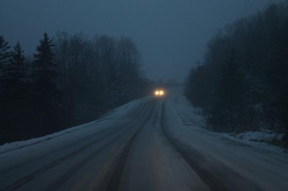 winter, headlights, snow, road,