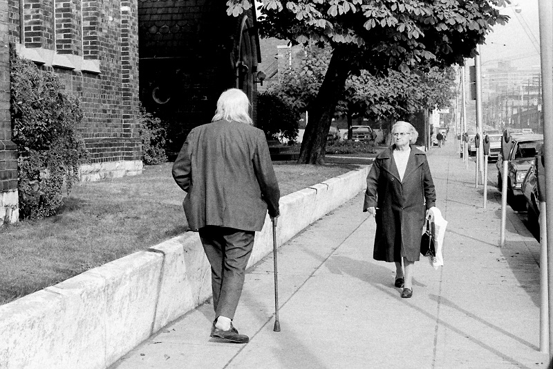 Downtown sidewalk, Toronto, 1980,